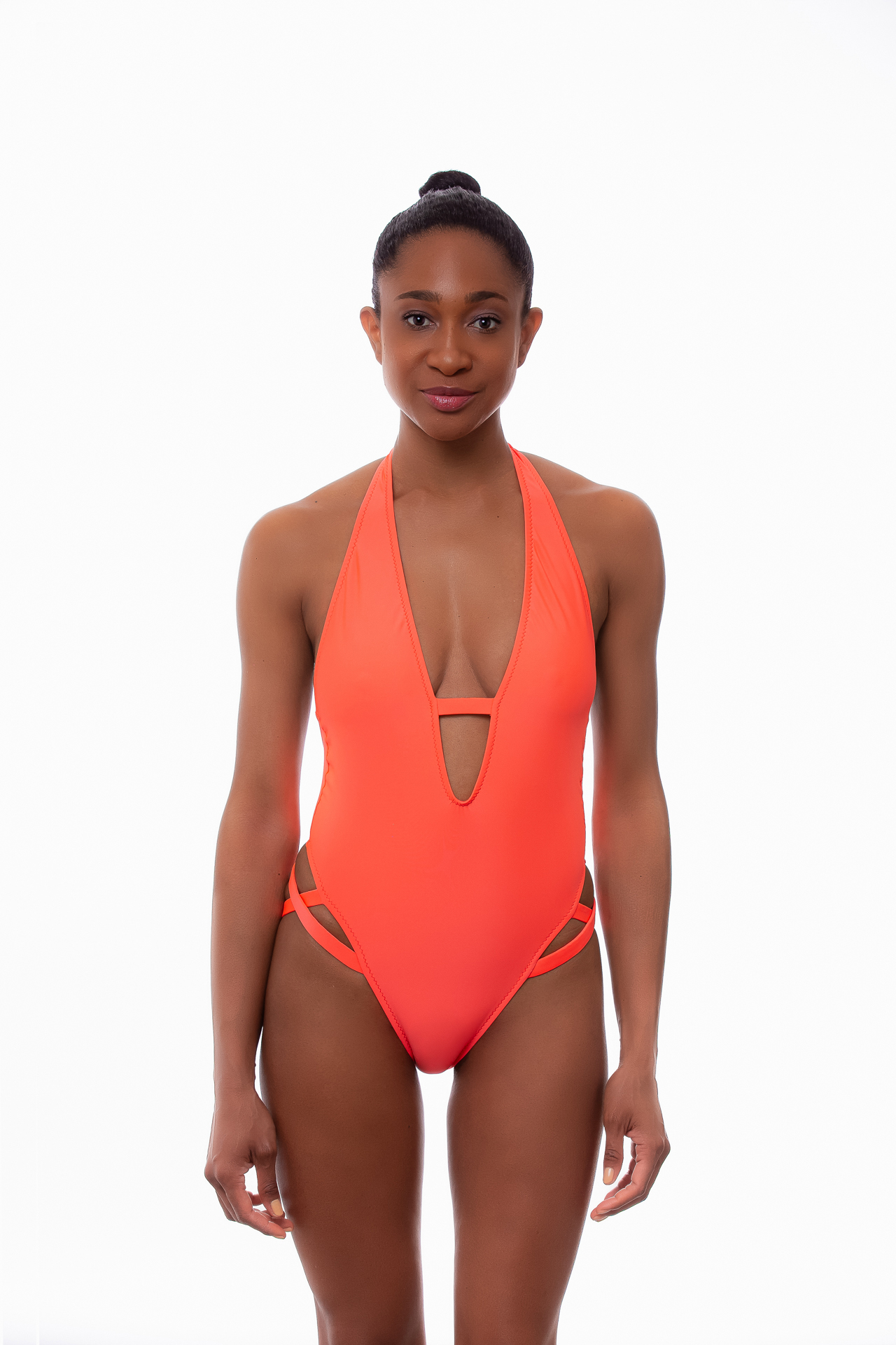 Maya One Piece Swimsuit In Coral Neon